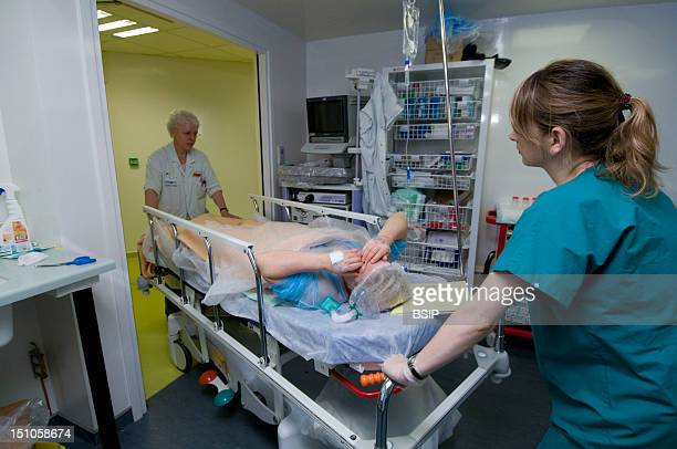 Photo Essay In The Endoscopy Unit Of Saint Louis Hospital In Paris France A Patient Is Regaining The Recovery Room