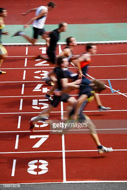 photo finish of a track race - finishing stock pictures, royalty-free photos & images