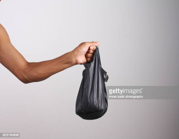 Photo for carrying plastic bags in grey background