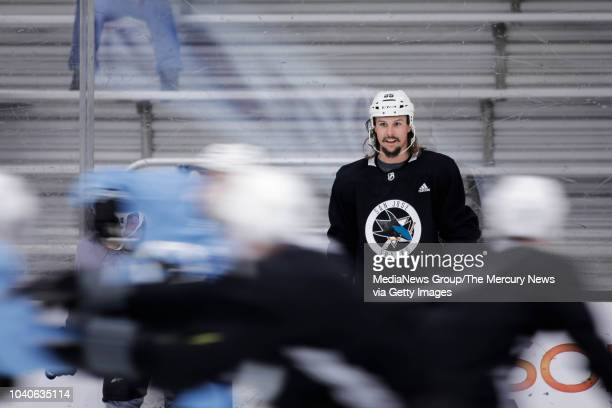 A photo from a video of San Jose Sharks' MarcEdouard Vlasic talks to the media after practice at Solar4America Ice in San Jose Calif on Wednesday...