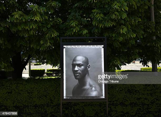 """Photo from the exhibit titled """"Open Air"""" by Walter Looss Jr. Of Michael Jordan sits on display at the Field Museum on May 28, 2015 in Chicago."""