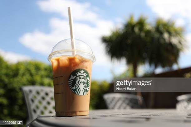Photo illustration of a beverage from Starbucks in Hedge End, Southampton after the store reopens for take away on May 15, 2020 in Southampton,...