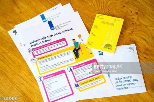 Photo illustration of a International certificate of Vaccination or Prophylaxis issued by the Kingdom of The Netherlands and vaccination invitation...