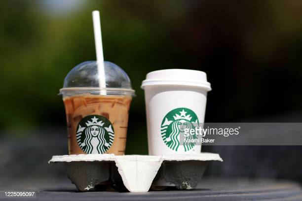 Photo illustration of beverages from Starbucks in Hedge End, Southampton after the store reopens for take away on May 15, 2020 in Southampton,...