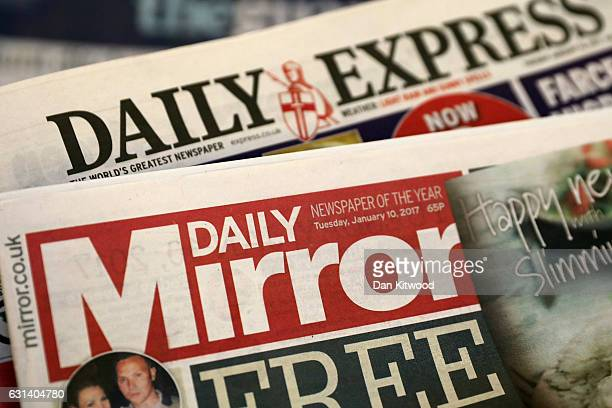 A photo illustration of British National Newspapers' The Daily Mirror and the Daily Express on January 10 2017 in London England The Daily Mirror...
