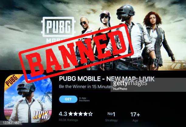 Photo Illustration of PUBG app with Banned text on an ipad device in Guwahati, india, on September 2, 2020. India has banned more than 100 additional...