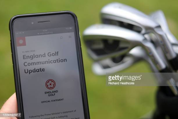 A photo illustration of the EGU England Golf website on May 11 2020 in High Wycombe United Kingdom Golf courses are set to reopen from Wednesday 13th...
