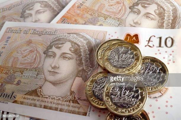A photo illustration of the new British ten pound note featuring a portrait of Jane Austen on September 27 2017 in London England A polymer £20 note...