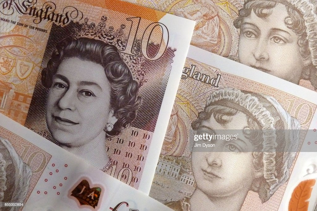 A photo illustration of the new British ten pound note, featuring a portrait of Jane Austen, on September 27, 2017 in London, England. A polymer £20 note featuring JMW Turner will enter circulation by 2020.