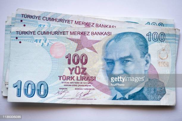 Photo illustration of Turkish Lira in Istanbul, Turkey, on 5 April, 2019. The exchange rate between the United States Dollar and the Turkish Lira...