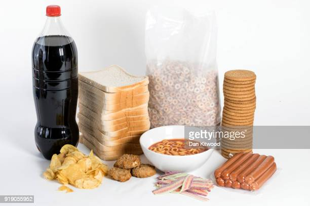 Photo illustration of 'Ultra Processed' foods on February 16, 2018 in London, England. A recent study by a team at the Sorbonne in Paris has...