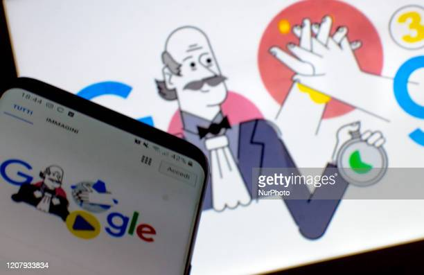 Photo illustration show a phone and one P.C. With Ignaz Semmelweis and hand washing for Coronavirus emergency on Google page on March 21, 2020 in...