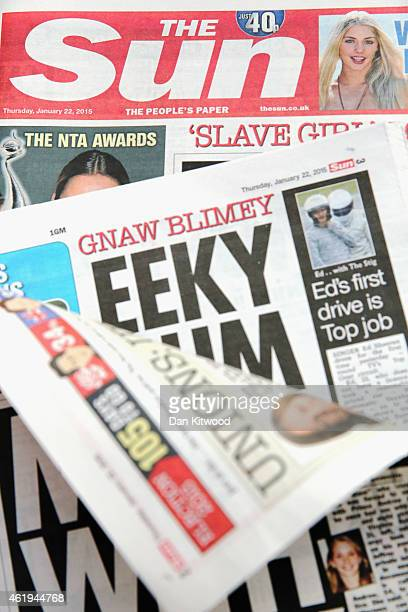 A photo illustration showing copies of The Sun newspaper depicting a topless woman is published on Page Three on January 22 2015 in London England...