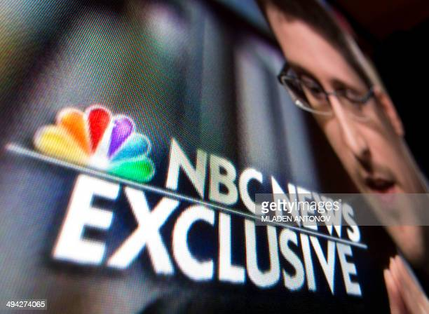 A photo illustration shows a part of a TV screen with the TV network NBC News logo taken in WashingtonDC on May 28 during their exclusive interview...