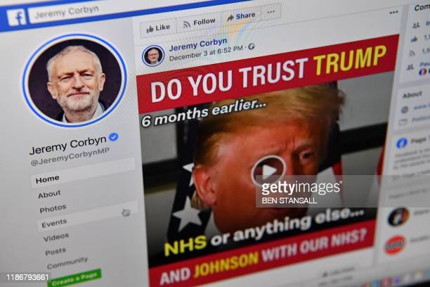 A photo illustration taken in London on December 6 shows the Facebook page of Britain's opposition Labour Party Leader Jeremy Corbyn At a startup...