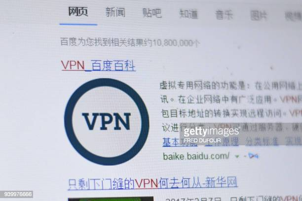 """Photo illustration taken on March 30, 2018 in Beijing shows the screen of a laptop with the word """"VPN"""" written in the search field of the Chinese..."""