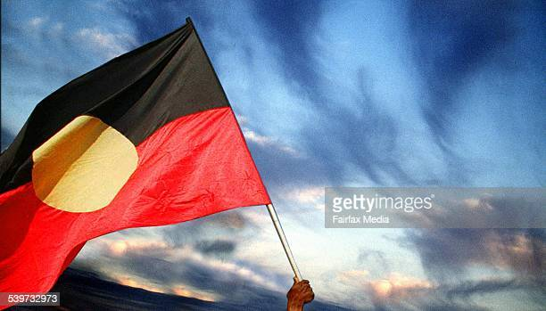 Photo illustration The Australian Aboriginal flag flying on 3 December 1997 AFR NEWS Picture by GREG NEWINGTON
