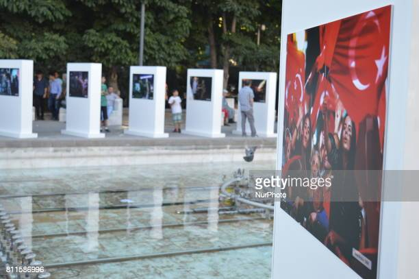 A photo is seen at a photography exhibition to the 1st anniversary of Turkey's failed coup attempt in Ankara Turkey on July 09 as the exhibition is...
