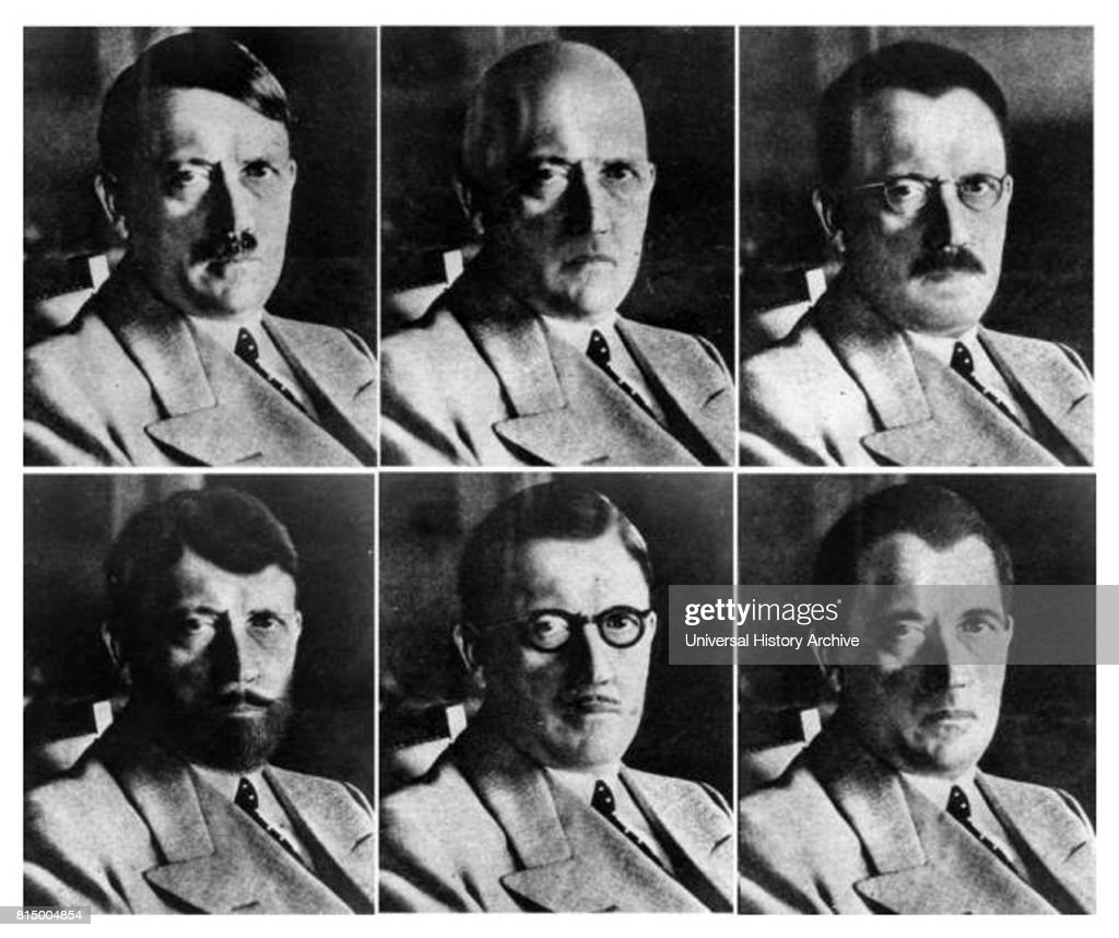Photo likenesses were produced in 1944 show how Hitler might be disguised in order to escaper. : News Photo