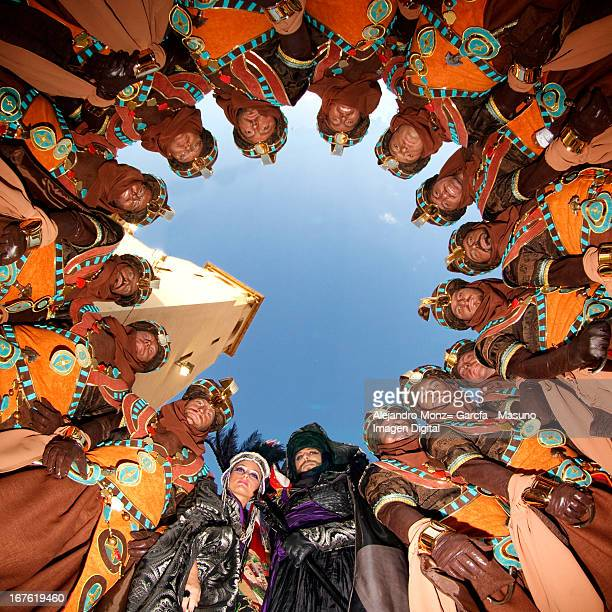 CONTENT] Photo made in Elda Spain MOROS Y CRISTIANOS celebrations down the Principal Church in Elda the Escuadra poses to take this photo Is the...
