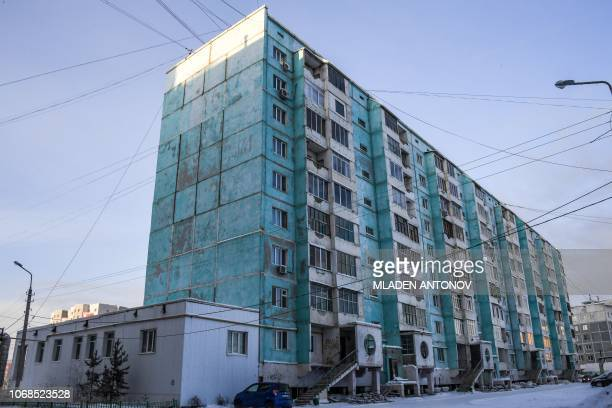 A photo made on November 26 2018 shows a cracked panel apartment building in the eastern Siberian city of Yakutsk Many houses in Yakutsk are made up...