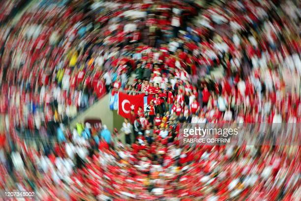 Photo made with a filter shows Turkish supporters cheering prior to the kick off of the Euro 2008 final group A match Turkey vs. The Czech Republic...