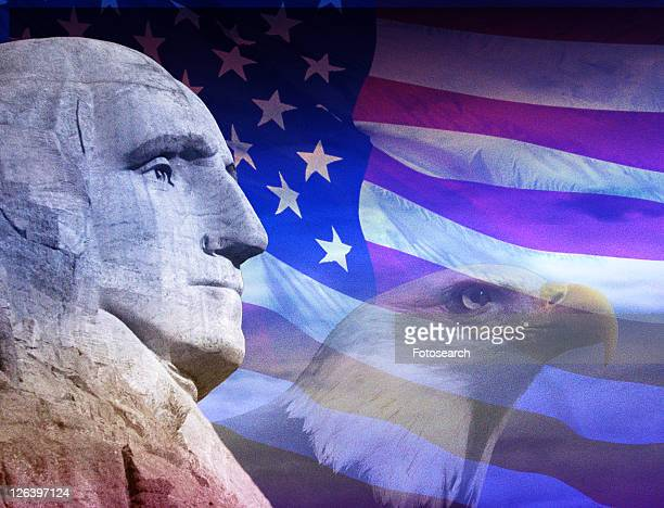 photo montage: american eagle, george washington and american flag - bald eagle with american flag stock pictures, royalty-free photos & images