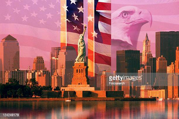 photo montage: american flag and eagle, world trade center, statue of liberty - bald eagle with american flag stock pictures, royalty-free photos & images