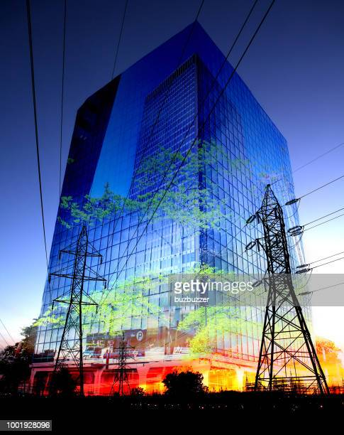 Photo Montage of an Office Building and Pylons at Night