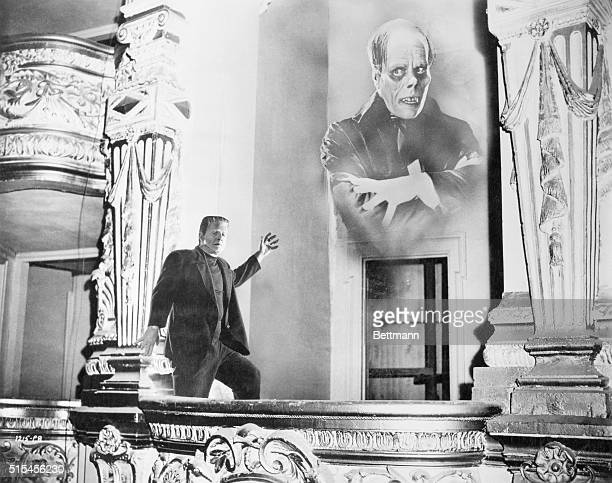 Photo montage of Frankenstein in the opera box with the Phantom of the opera looming in the background Universal pictures publicity shot and dated...