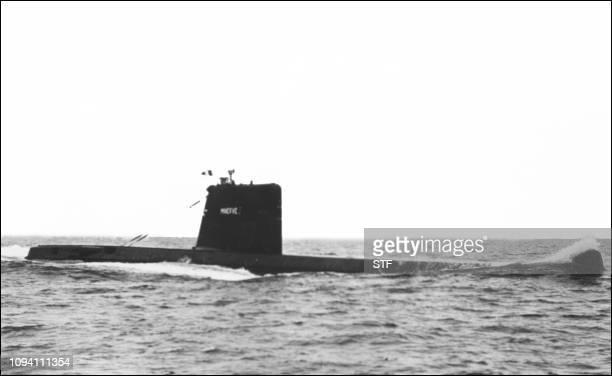 Photo non datee du Minerve un submersible de classe Daphne lors d'un exercice Deux bateaux du même type le Minerve et l'Eurydice disparurent en mer...