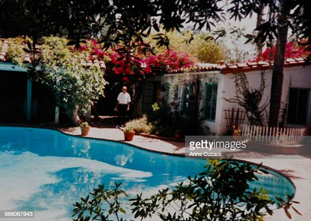 A photo o Marilyn Monroe's pool and backyard as it was when she owned the Brentwood home which is part of the collection of Greg Schreiner copy shot...