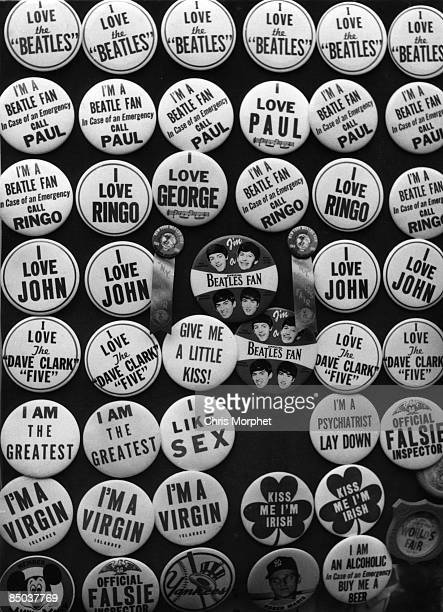 Photo of 60's STYLE and 60'S and BEATLES and MERCHANDISE pin badges including Beatles pin badges