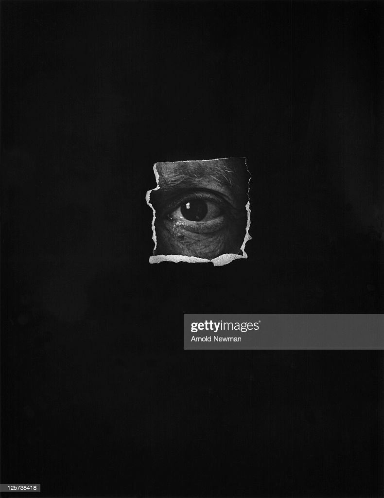 Photo of a collage created from a cut out of Pablo Picasso's eye, derived from one of Arnold Newman's most well-known portraits of the Spanish artist, taken in Vallauris, France, on June 2, 1954.