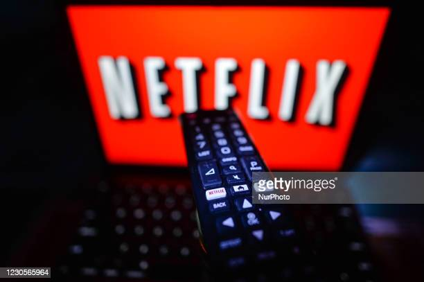 Photo of a person about to watch Netflix on a screen inside an apartment, during the coronavirus lockdown in Dublin. On Wednesday, January 13 in...