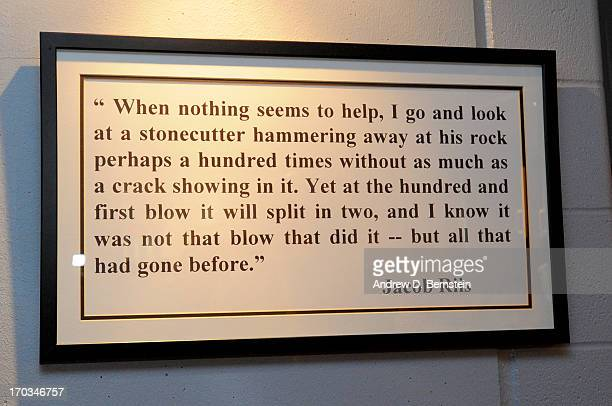 A photo of a quote on the wall of the San Antonio Spurs locker room taken prior to the start of Game Three of the 2013 NBA Finals between the San...