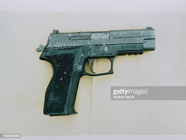 A photo of a Sig Sauer P226 handgun similar to the ones used by murder suspect Elliot Rodger is seen at a press conference by the Santa Barbara...