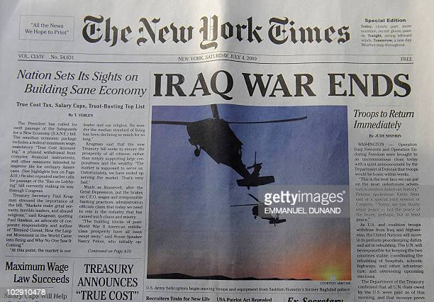 Photo of a spoof edition of The New York Times announcing 'Iraq War Ends' which is an elaborate hoax which pranksters distributed thousands of free...