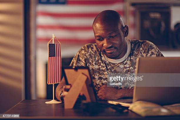 Photo of a young american soldier in office