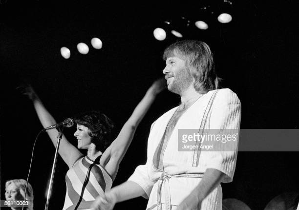 Photo of ABBA LR Agnetha F±ltskog AnniFrid Lyngstad Benny Andersson performing live onstage at Falkoner Theatre