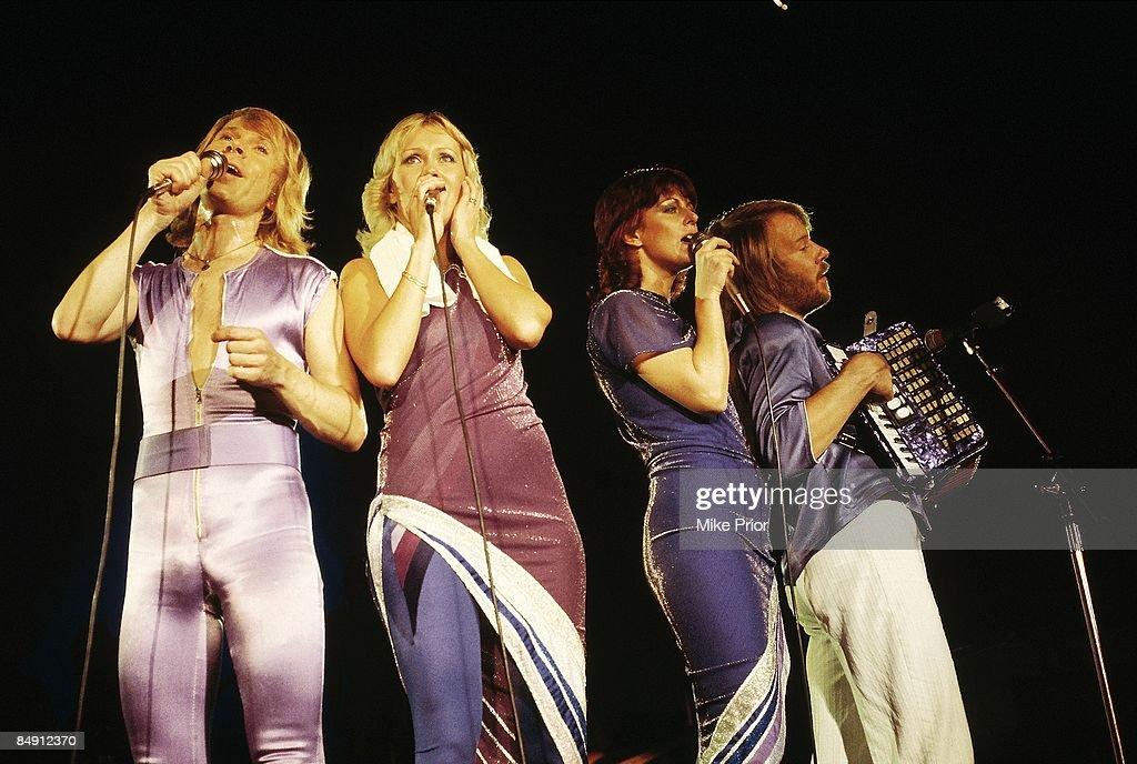 Bjorn Ulvaeus, Agnetha Faltskog, Anni-Frid Lyngstad, Benny Andersson performing live onstage