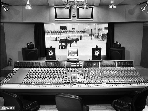 STUDIOS Photo of ABBEY ROAD and RECORDING STUDIO Inside Abbey Road Studio Neve mixing desk in control room overlooking Studio 1