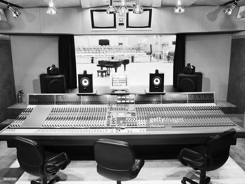 STUDIOS Photo of ABBEY ROAD and RECORDING STUDIO, Inside Abbey Road Studio - Neve mixing desk in control room overlooking Studio 1