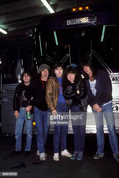 Photo of AC DC and AC/DC and Angus YOUNG and Malcolm YOUNG and Brian JOHNSON Malcolm Young Brian Johnson Simon Wright Angus Young Cliff WIlliams...