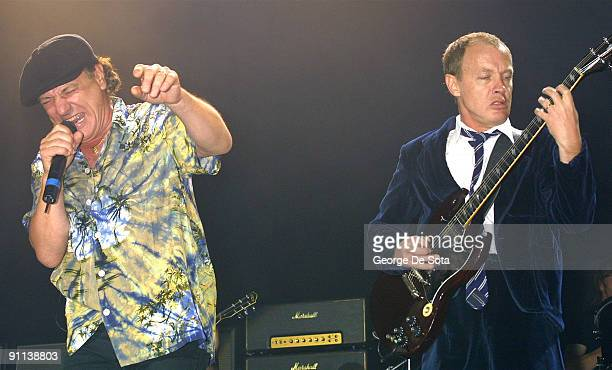 BALLROOM Photo of AC DC and Angus YOUNG and Brian JOHNSON and AC/DC Brian Johnson and Angus Young performing live onstage Photo by George De Sota...