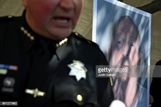 A photo of accused rapist and killer Joseph James DeAngelo is displayed during a news conference on April 24 2018 in Sacramento California Sacramento...