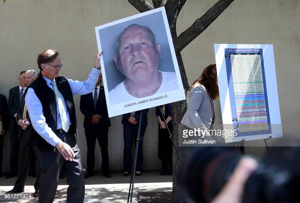 A photo of accused rapist and killer Joseph James DeAngelo is displayed during a news conference on April 25 2018 in Sacramento California Sacramento...