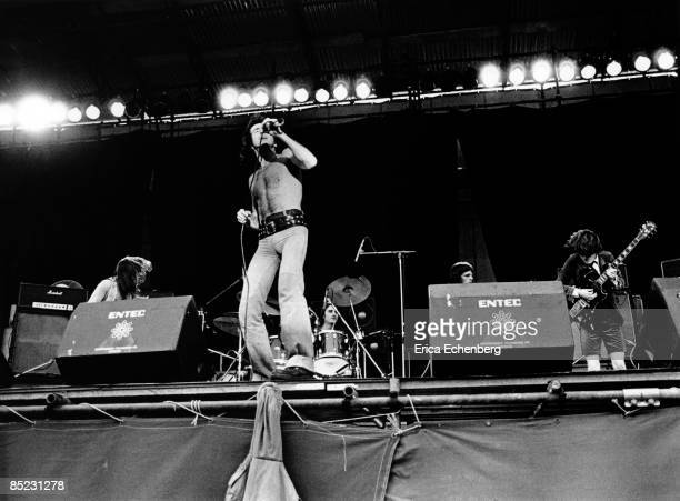 FESTIVAL Photo of AC/DC and AC DC and Malcolm YOUNG and Bon SCOTT and Phil RUDD and Mark EVANS and Angus YOUNG Group performing on stage LR Malcolm...