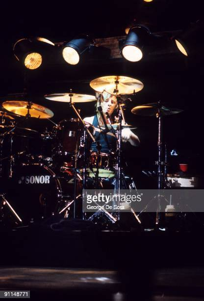 Photo of AC/DC and AC DC and Phil RUDD Drummer Phil Rudd performing on stage Photo by George De Sota /Redferns