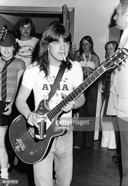 Photo of AC/DC and Malcolm YOUNG and Angus YOUNG Malcolm Young and Angus Young backstage